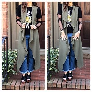 Jackets & Blazers - Olive sleeveless wrap duster